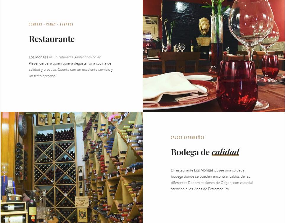 Página web del restaurante los monges en Plasencia