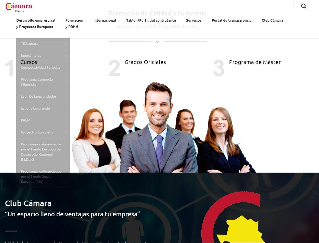 pagina web de camara comercio de caceres