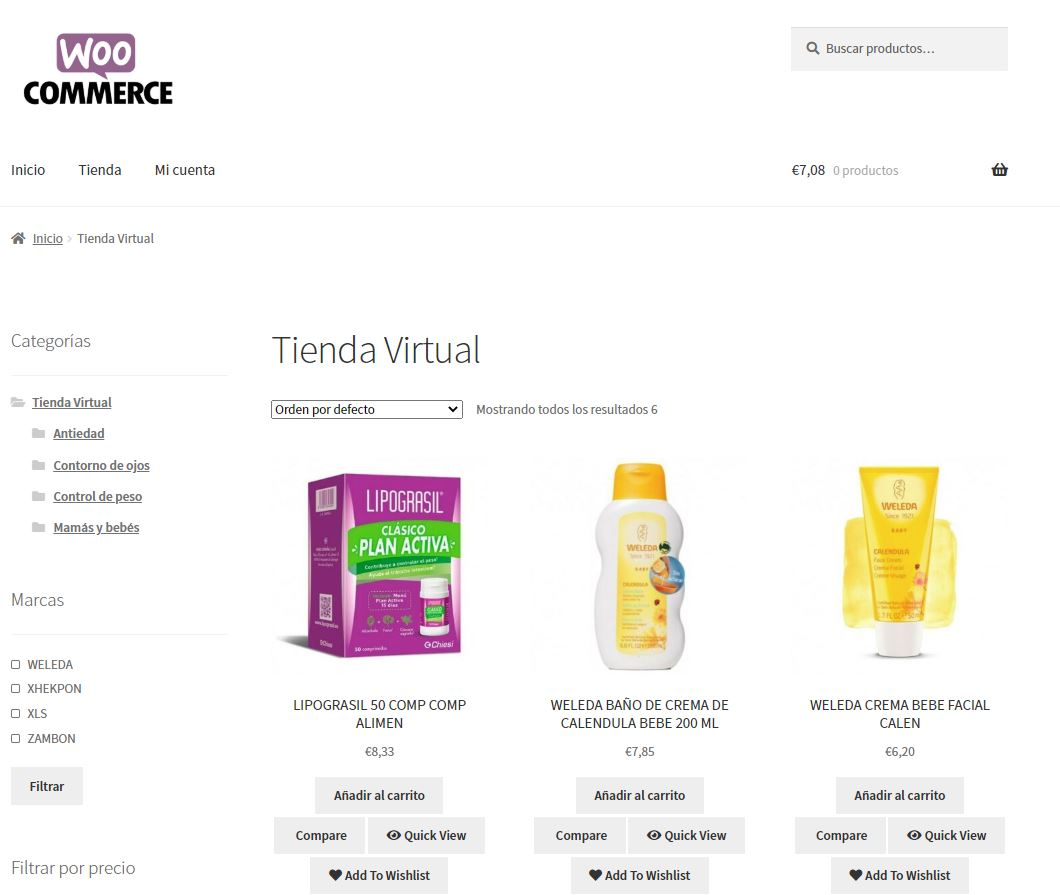 tienda virtual de Farmacia en WooCommerce